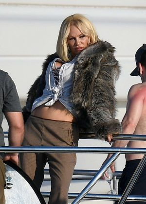Pamela Anderson on a photoshoot on a boat in Saint Tropez