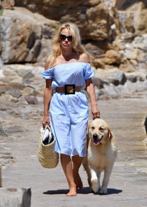 Pamela Anderson walk with her dog in St Tropez