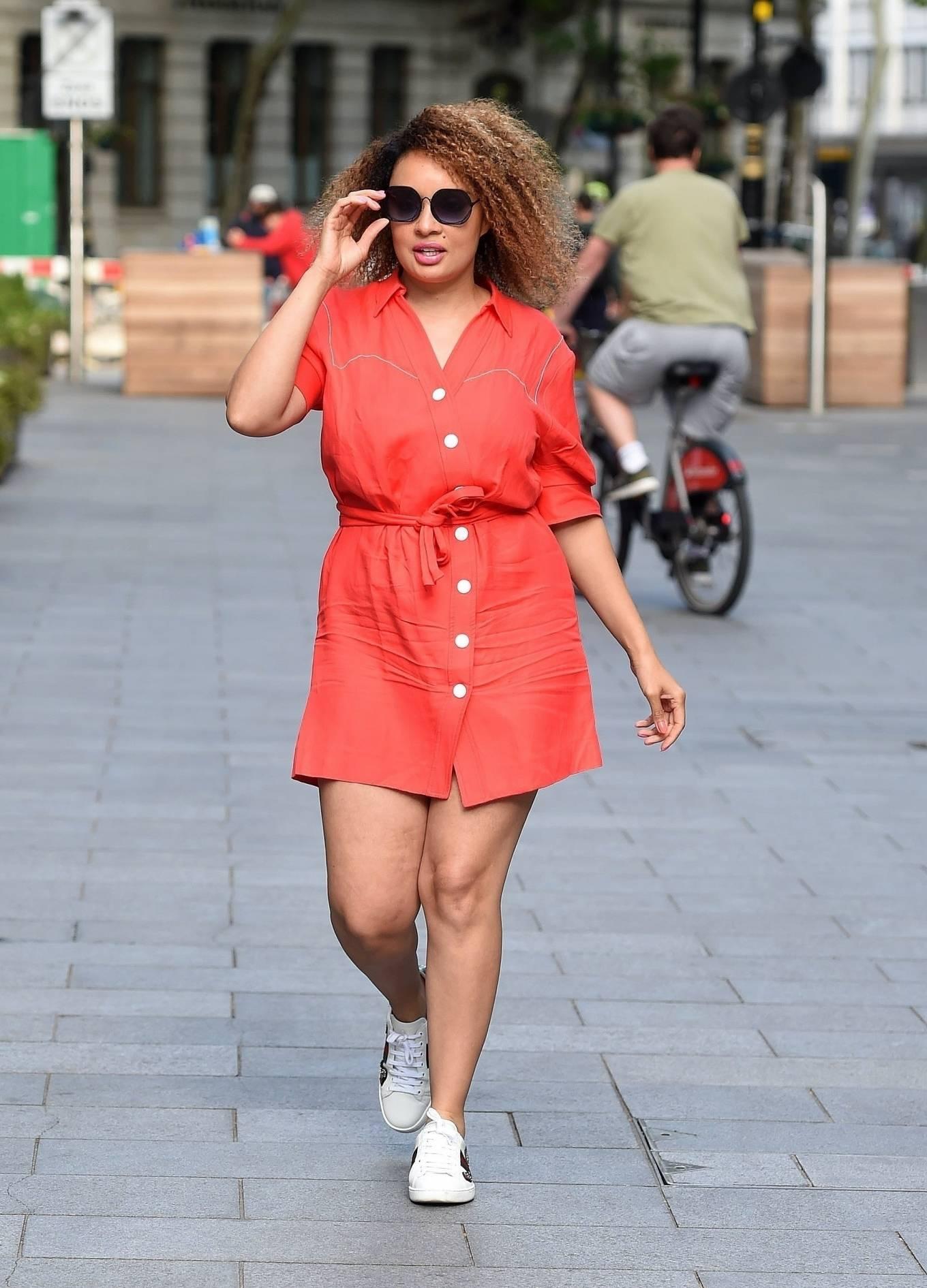 Pandora Christie in Mini Dress - Arriving at Global Radio Studios in London