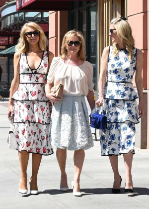 Paris and Nicky Hilton and mom Kathy in Beverly Hills
