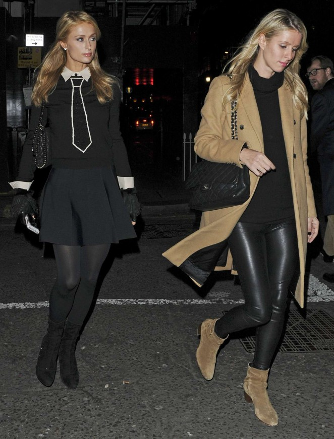 Paris and Nicky Hilton - Arriving at Sexy Fish Restaurant in Mayfair
