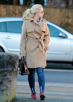 Paris Fury in Beige Coat Out in Cheshire