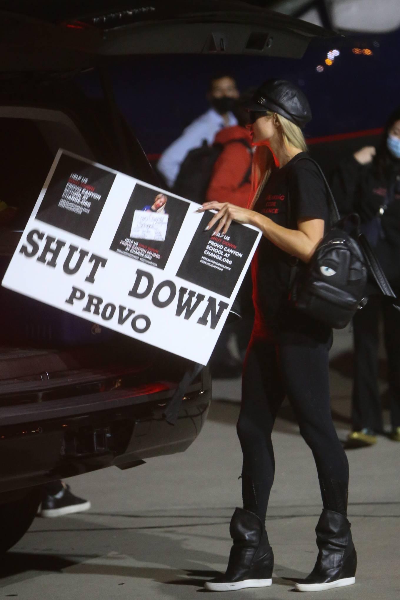 Paris Hilton - All clad in black in Los Angeles