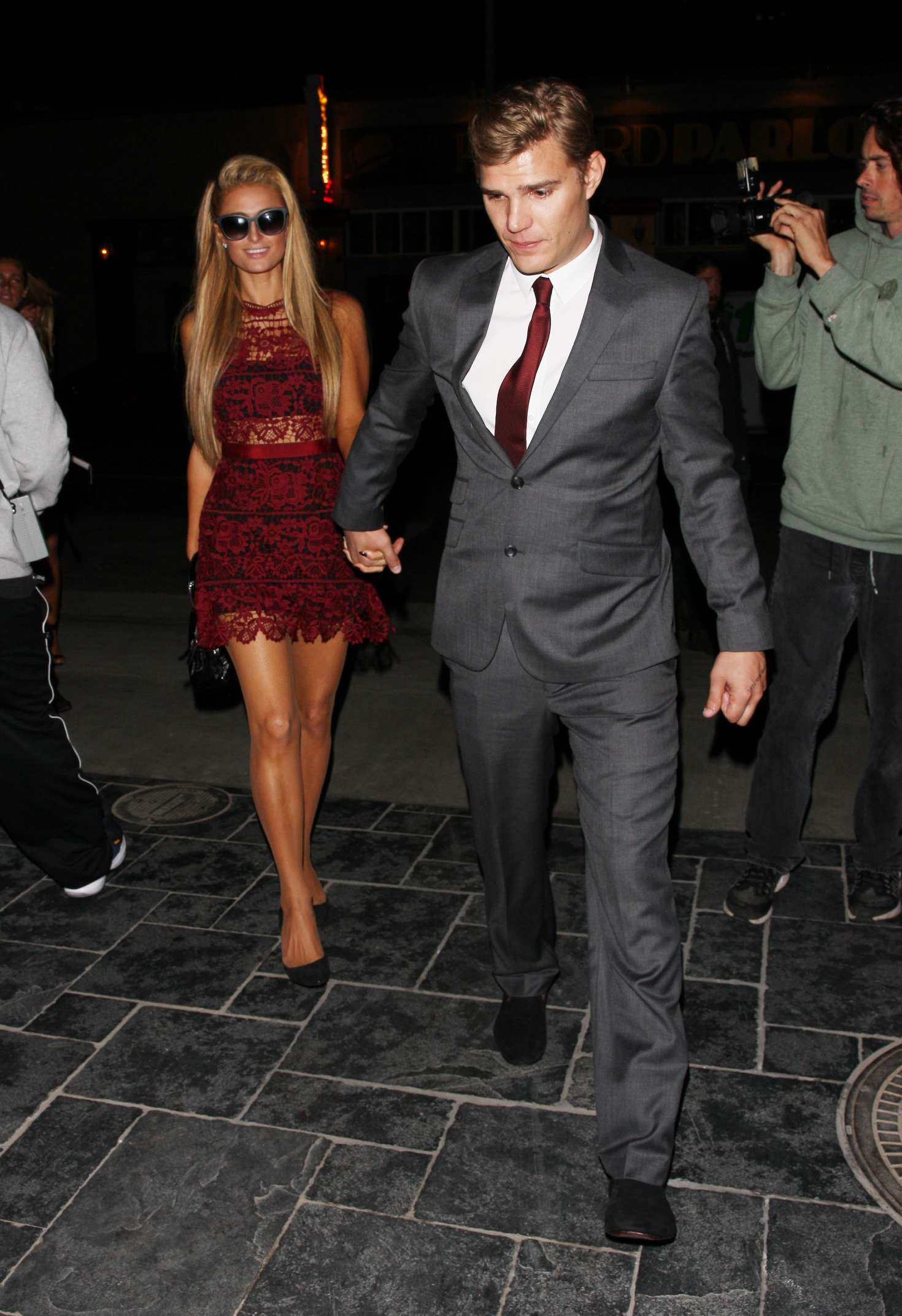 paris hilton and chris zylka at tao night club in hollywood. Black Bedroom Furniture Sets. Home Design Ideas