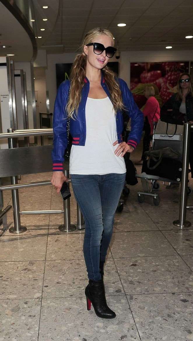 Paris Hilton in Jeans at Heathrow Airport in London