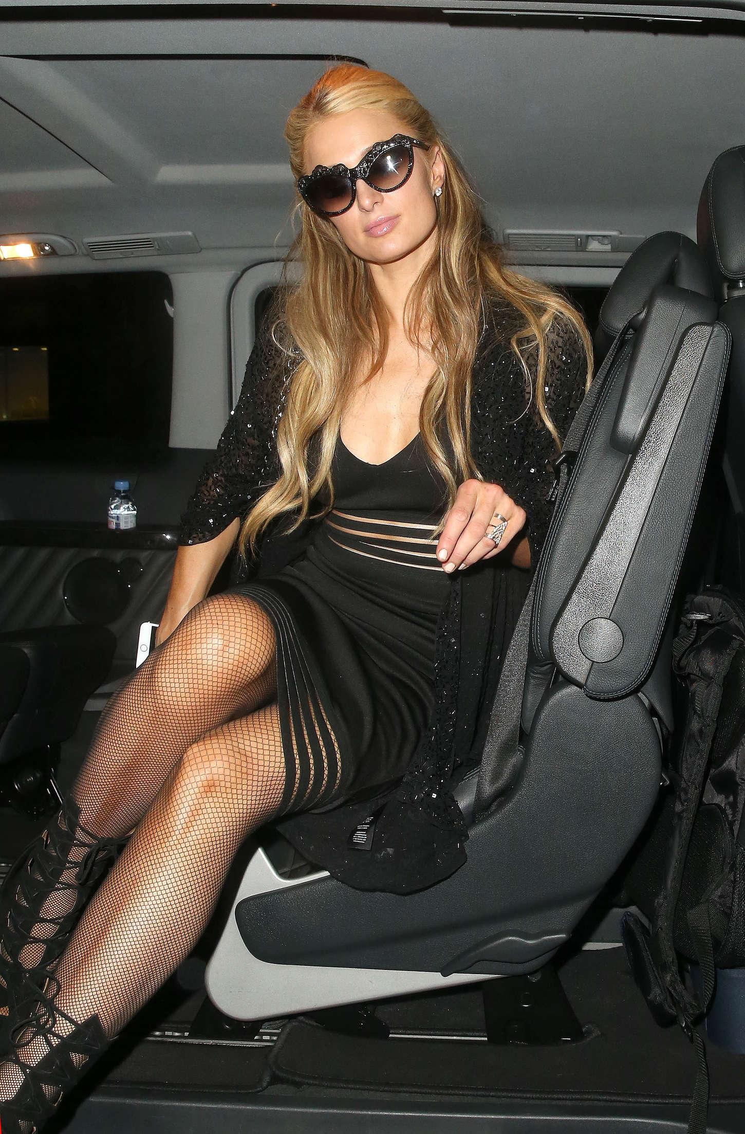 Paris Hilton in Black Dress Arriving at Her Hotel in London