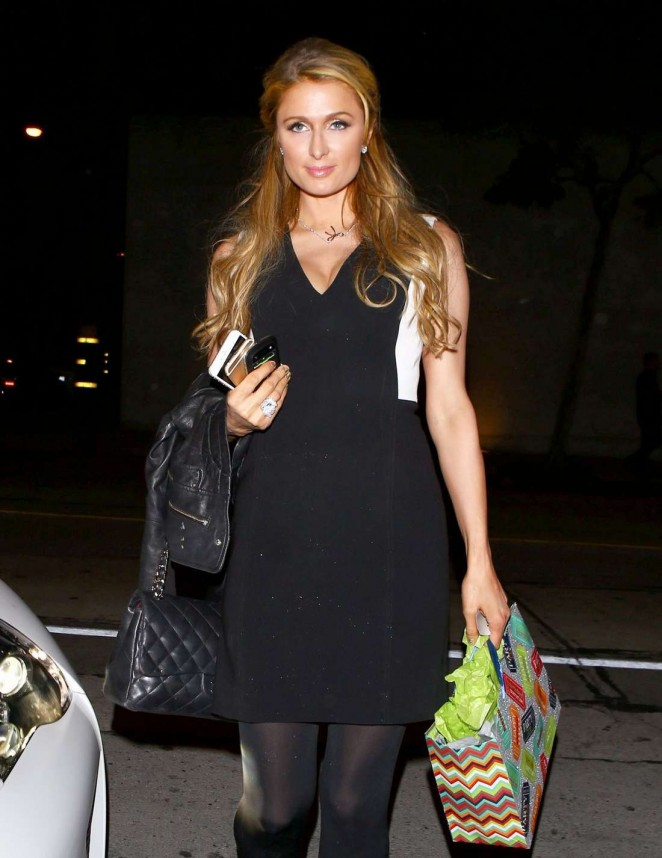 Paris Hilton in Black Dress at Craig's Restaurant in West Hollywood