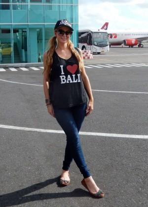 Paris Hilton at Ngurah Rai International Airport in Bali