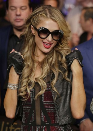 Paris Hilton at the Floyd Mayweather vs. Manny Pacquiao Fight in Las Vegas