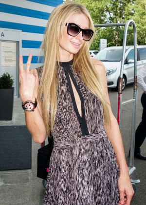 Paris Hilton in Long Dress at the Zurich Airport