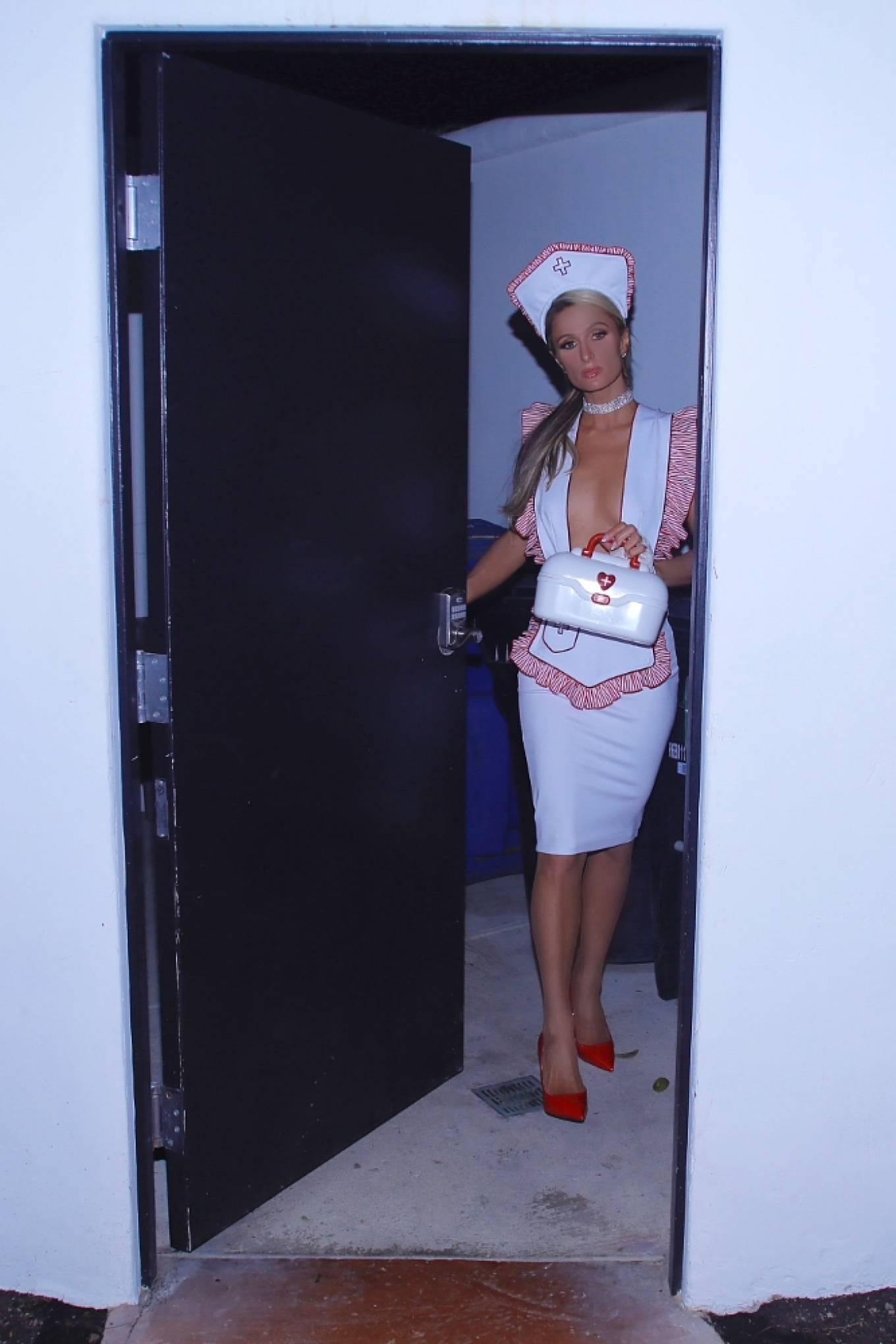 Paris Hilton 2020 : Paris Hilton – Dressed in a nurses costume in Los Angeles-09