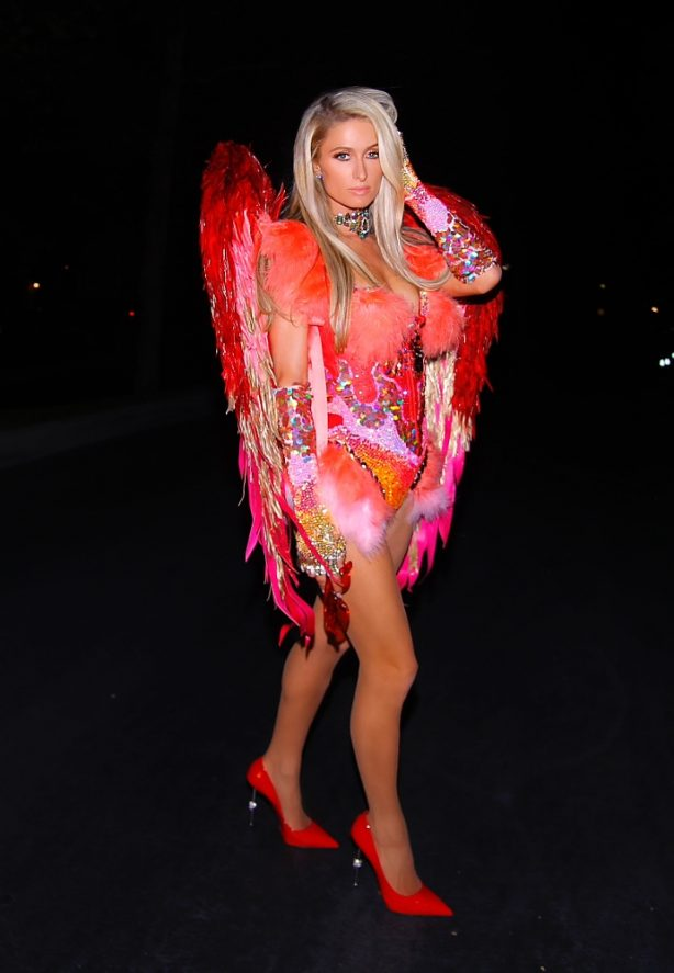 Paris Hilton - In a Halloween 'Red Angel' outfit as she leaves her Los Angeles home