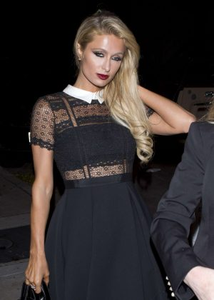 Paris Hilton in Black Dress at 'Craigs' Restaurant in West Hollywood