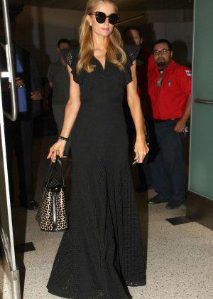 Paris Hilton in Black Dress at Los Angeles International Airport