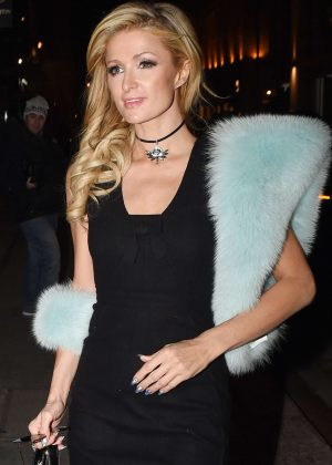 Paris Hilton in Black Dress Leaving the May Fair Hotel in London