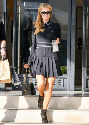 Paris Hilton in Black Mini Dress Out in LA