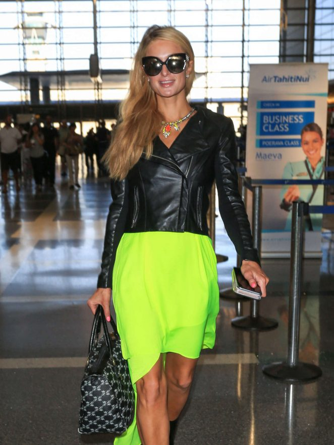 Paris Hilton in Leather Jacket at LAX airport in Los Angeles
