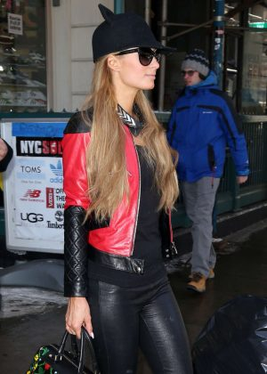 Paris Hilton in Leather Pants Out in New York City