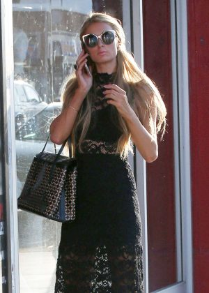 Paris Hilton in Long Black Dress Shopping in Beverly Hills