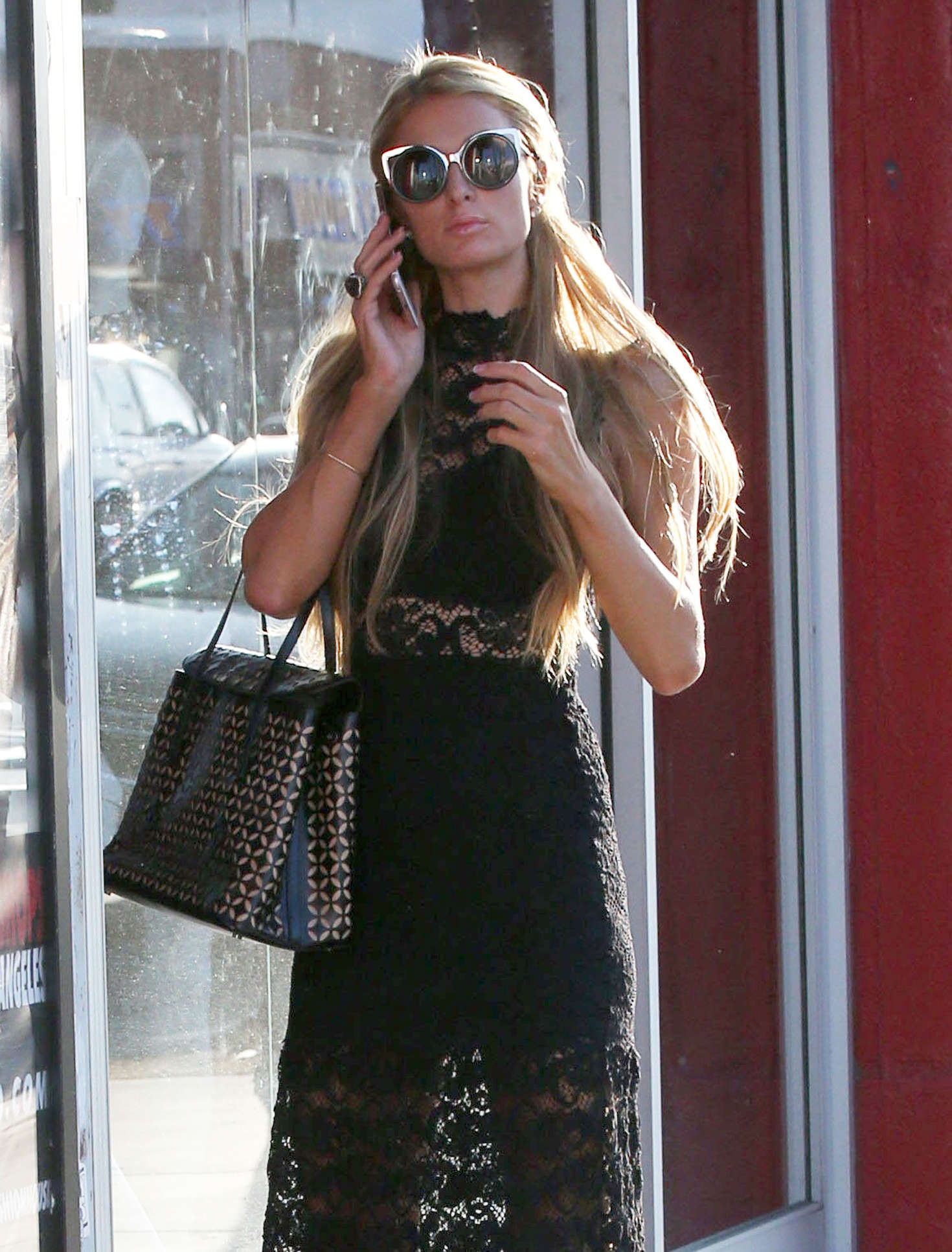 Paris Hilton in Long Black Dress Shopping in Beverly Hills