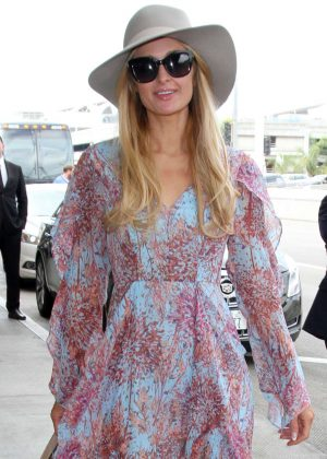 Paris Hilton in Long Dress at LAX Airport in LA