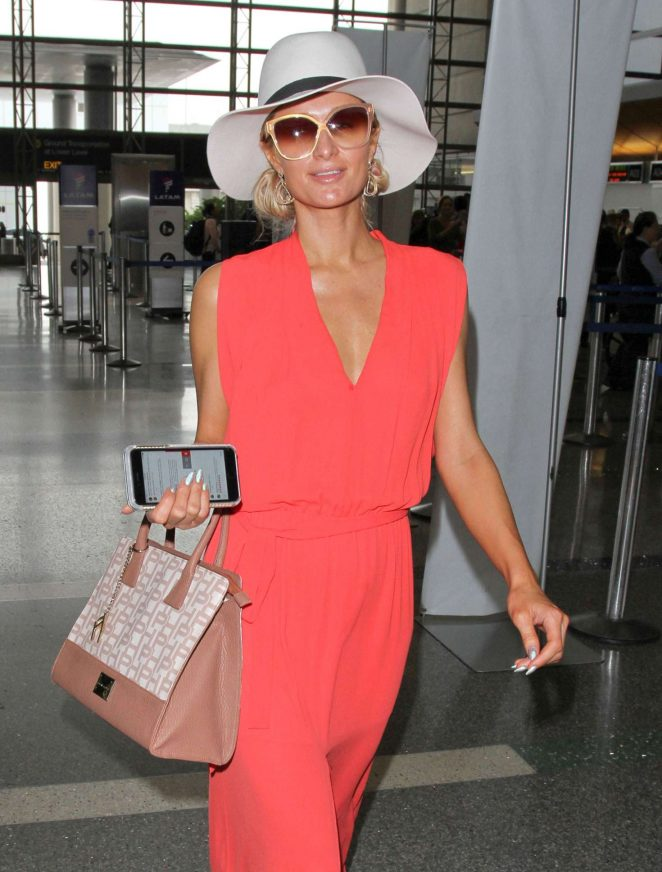 Paris Hilton in Long Dress at LAX Airport in Los Angeles