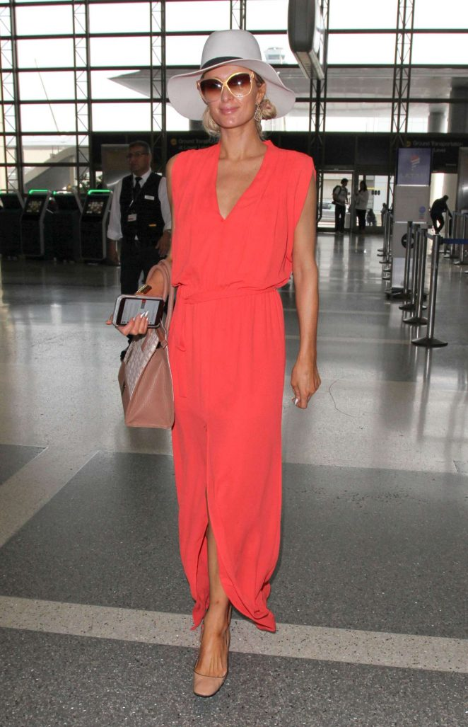 Paris Hilton in Long Dress at LAX Airport -05