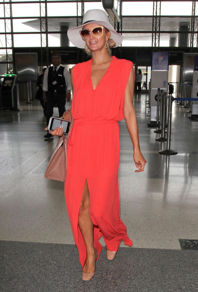 Paris Hilton in Long Dress at LAX Airport -06