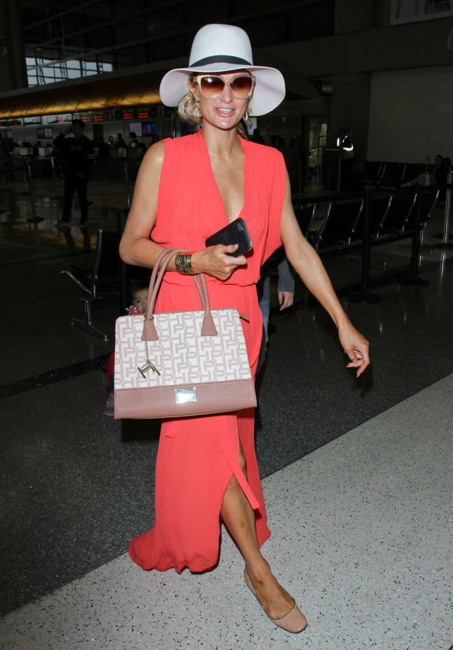 Paris Hilton in Long Dress at LAX Airport -07