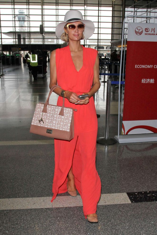 Paris Hilton in Long Dress at LAX Airport -10