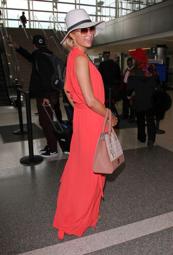 Paris Hilton in Long Dress at LAX Airport -12