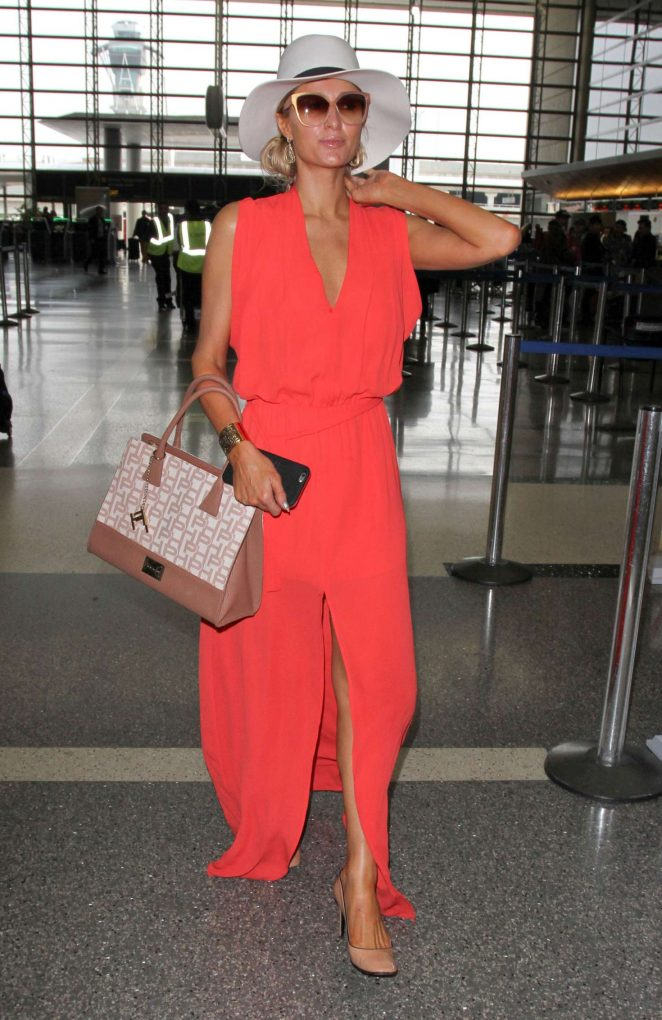 Paris Hilton in Long Dress at LAX Airport -13