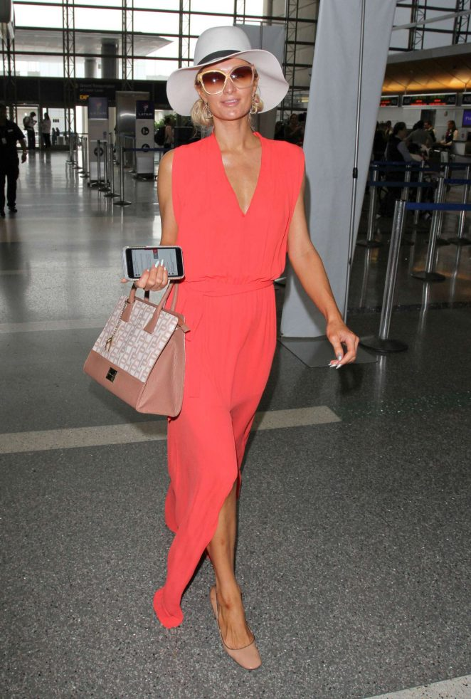 Paris Hilton in Long Dress at LAX Airport -14