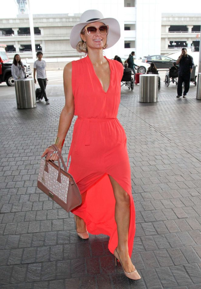 Paris Hilton in Long Dress at LAX Airport -15