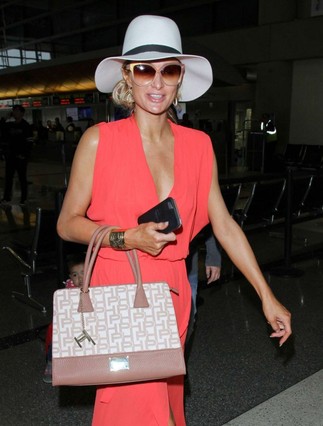 Paris Hilton in Long Dress at LAX Airport -16