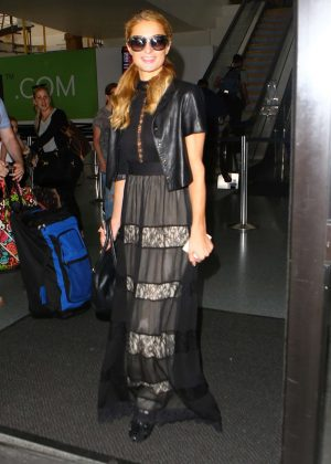 Paris Hilton in Long Dress at LAX in Los Angeles