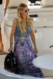 Paris Hilton in Long Dress - On a Yacht in Mykonos