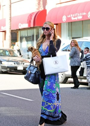 Paris Hilton in Long Dress out in LA