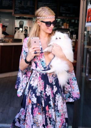 Paris Hilton in Long Dress Shopping in Beverly Hills