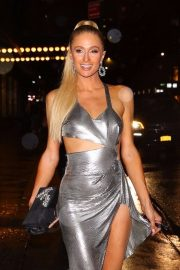 Paris Hilton in Metallic Dress - Arrives at KKW X Winnie Event in NY