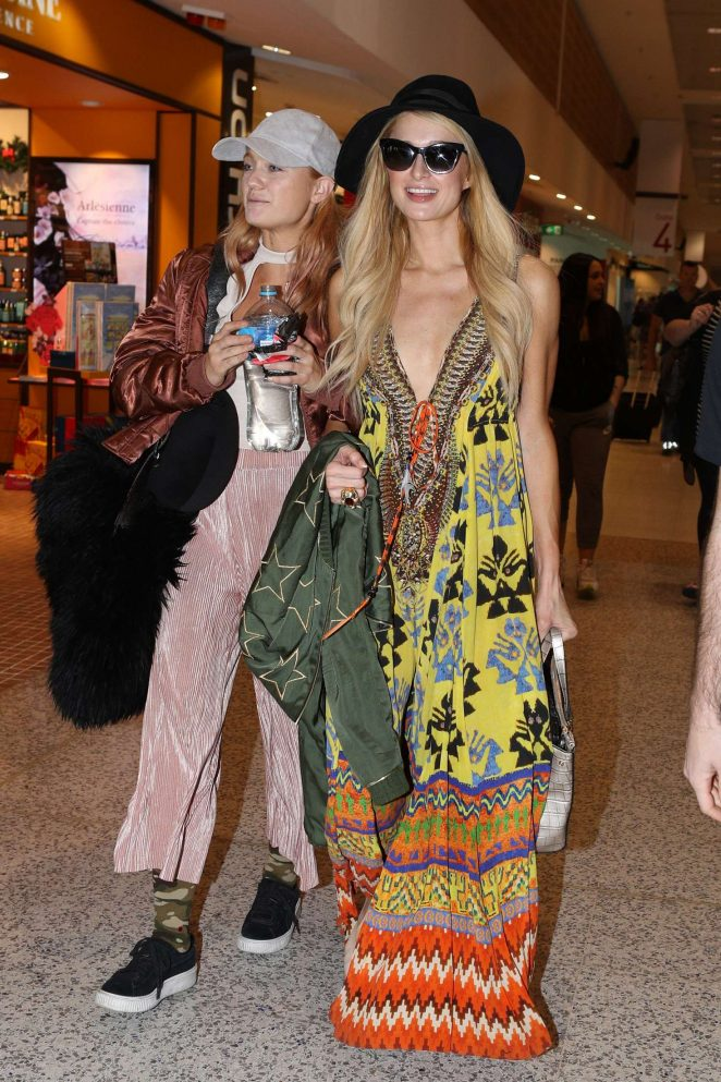 Paris Hilton in print dress at Sydney Airport