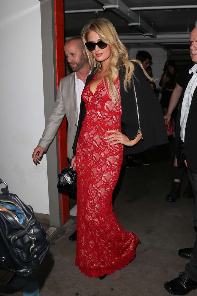 Paris Hilton in red lacy dress at The Project in Melbourne