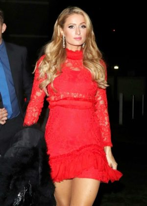 Paris Hilton in Red Mini Dress - Attending house party in London