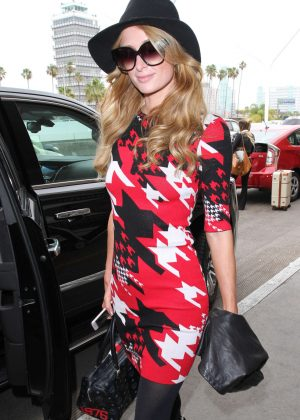 Paris Hilton in Short Dress at LAX Airport in Los Angeles