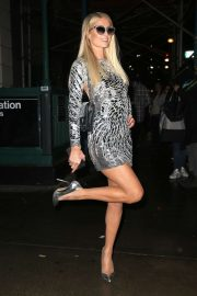 Paris Hilton in Silver Mini Dress - Night out in New York