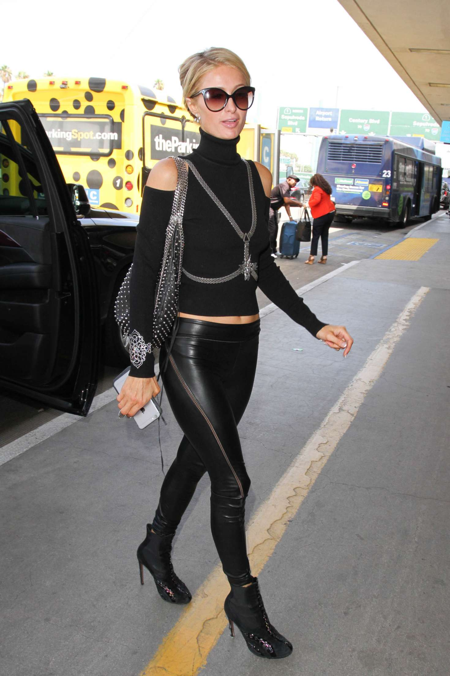 Paris hilton in tight leather at lax in los angeles paris hilton in