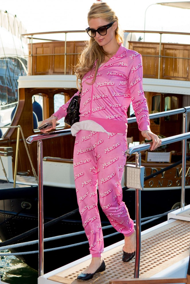 Paris Hilton in Pink Leaving a Yacht in Cannes