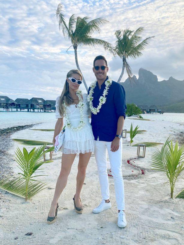 Paris Hilton - On holiday at Four Seasons in Bora Bora