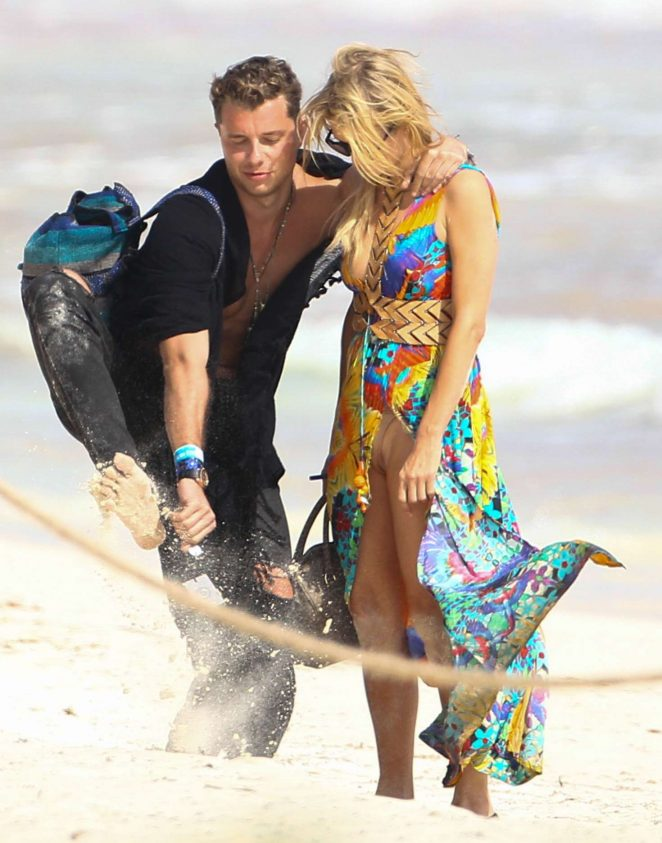 Paris Hilton on the beach in Tulum