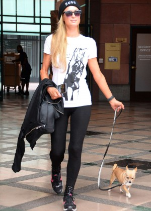 Paris Hilton in Tights out in Los Angeles